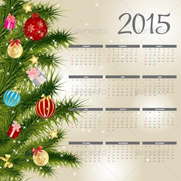 2015 New Year Calendar - Christmas Seasons/Holidays
