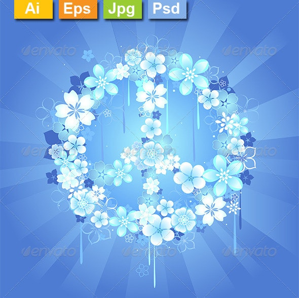 Peace Symbol with Flowers on a Blue Background - Decorative Symbols Decorative
