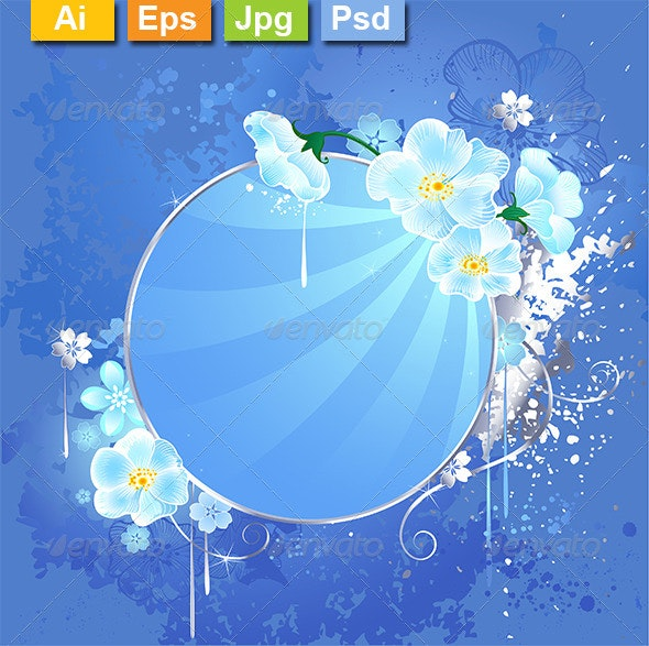 Round Banner with White Flowers - Decorative Vectors