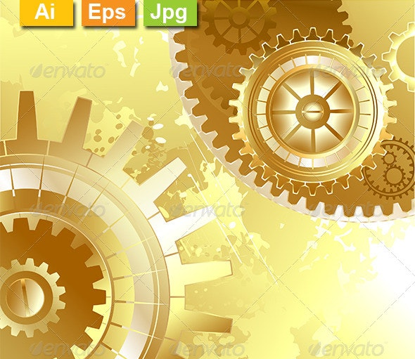 Old Background with Gold Gears - Backgrounds Decorative