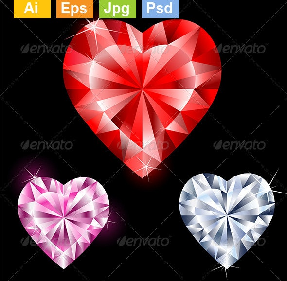 Precious Gems in Heart Shapes - Man-made Objects Objects