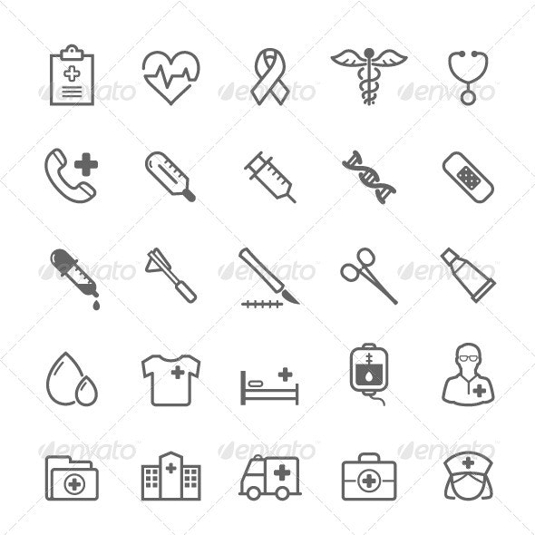 25 Outline Stroke Medical & Health Care Icons - Objects Icons