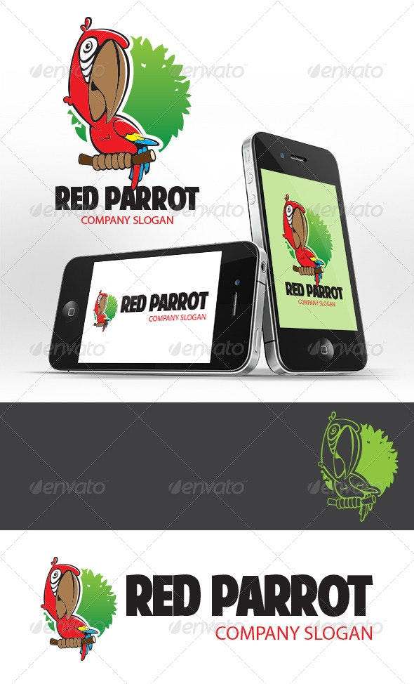 Red Parrot Logo Template - Animals Logo Templates