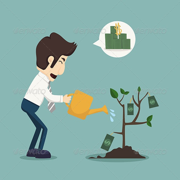 Businessman Watering a Plant of Money - Concepts Business