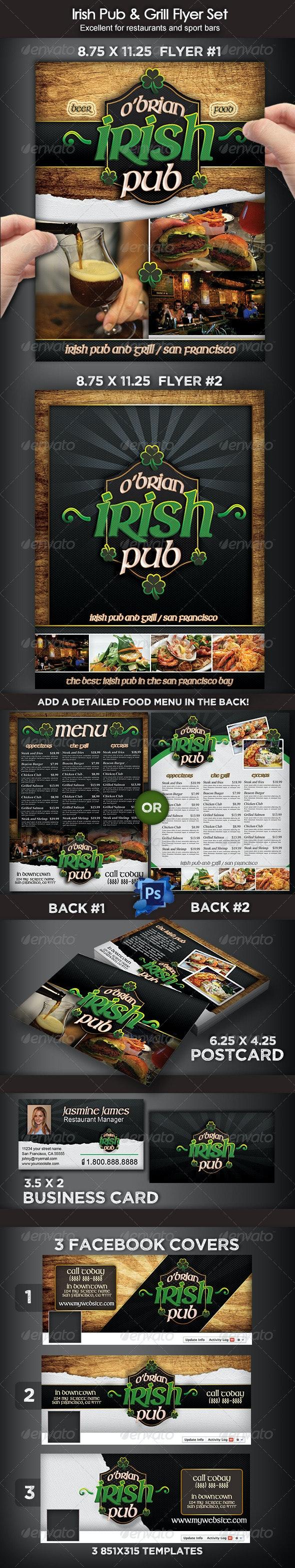 Irish Pub & Grill Flyer Set - Restaurant Flyers