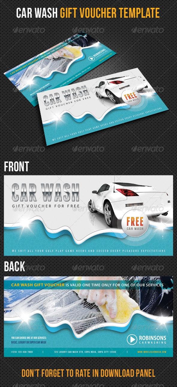 Car Wash Gift Voucher V12 - Cards & Invites Print Templates