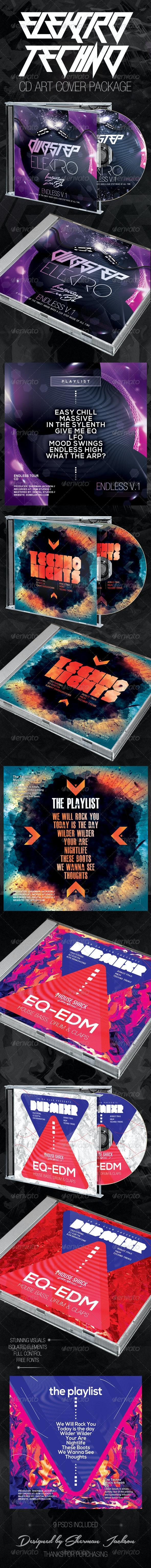 Elektro Techno CD Cover Artwork Bundle (3in1) - CD & DVD Artwork Print Templates