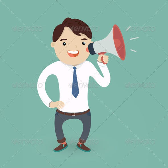 Businessman Character with a Megaphone