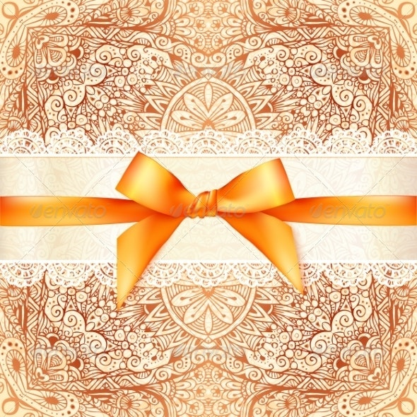 Vintage Wedding Card Template with Orange Bow - Weddings Seasons/Holidays
