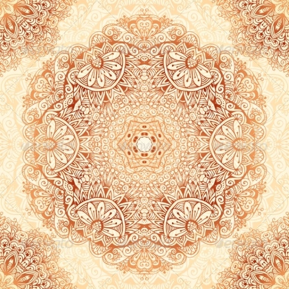 Ornate Vintage Seamless Pattern in Mehndi Style - Backgrounds Decorative