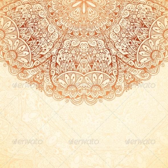 Ornate Vintage Background in Mehndi Style - Backgrounds Decorative