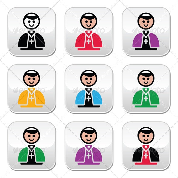 Catholic Church Pope Buttons Set - People Characters