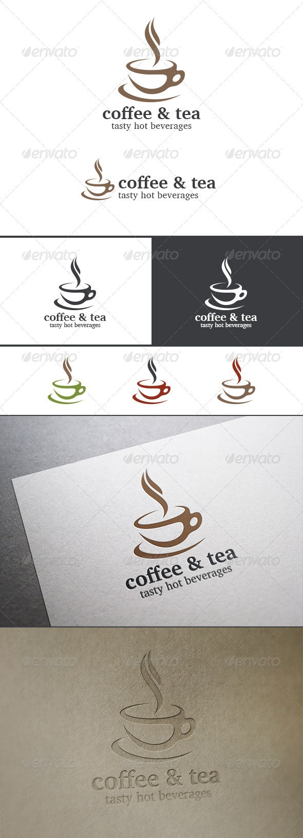 Coffee Tea Cup Logo Cafe Abstract - Food Logo Templates