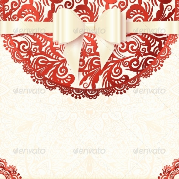 White and Red Vintage Lacy Wedding Card - Weddings Seasons/Holidays