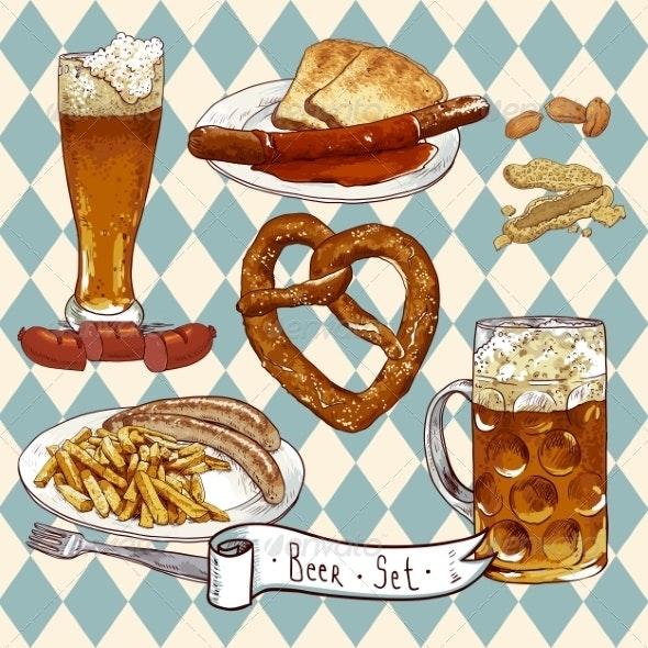 Beer Set with Beer Glasses, Pretzel and Sausages - Patterns Decorative