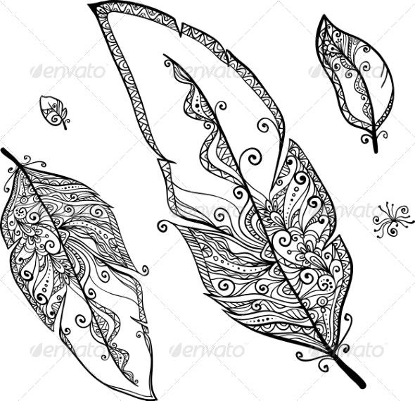 Doodle Ethno Feathers Set - Decorative Symbols Decorative