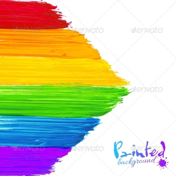 Bright Rainbow Paint Strokes Arrow Background
