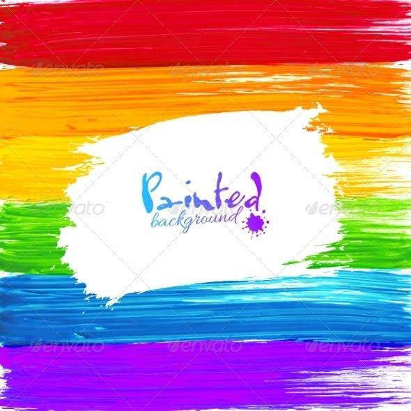 Bright Rainbow Paint Splashes Background
