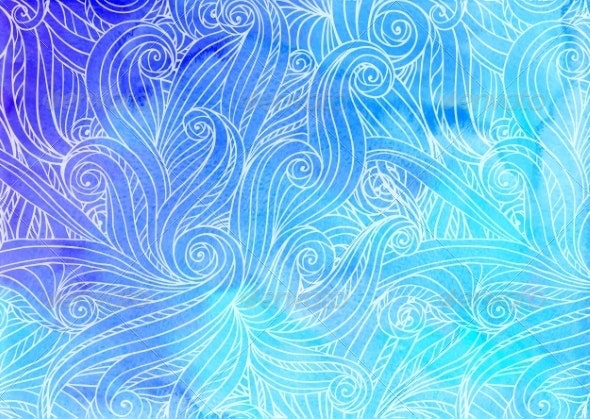 Blue Watercolor Waves Background - Backgrounds Decorative