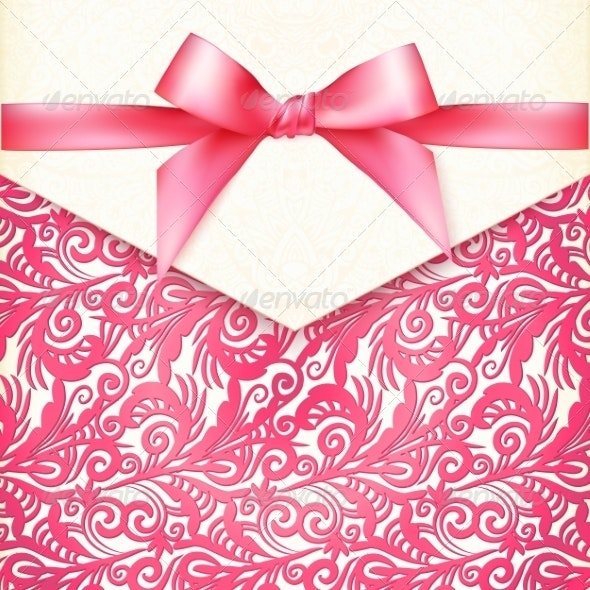 Vintage Wedding Card Template with Pink Bow - Weddings Seasons/Holidays