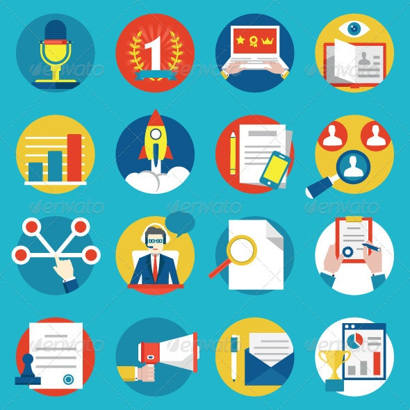 Set of Management Human Resources Icons - Business Icons