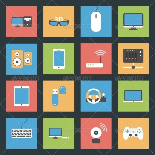 Computers and Devices Flat Icons - Web Technology
