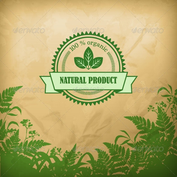 Natural Organic Herbal Vector Composition - Health/Medicine Conceptual