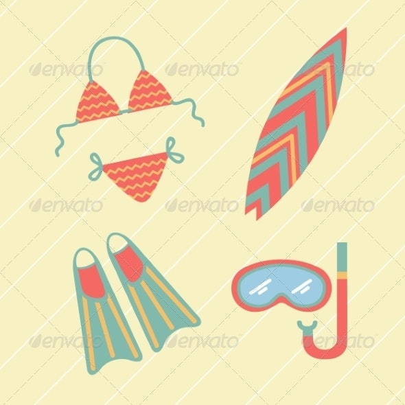 Collection of Beach Summer Accessories. - Travel Conceptual