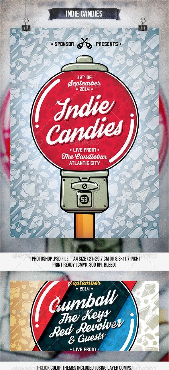 Indie Candies - Flyer & Poster - Concerts Events