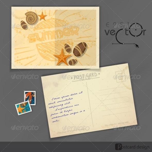 Old Postcard Design, Template - Travel Conceptual
