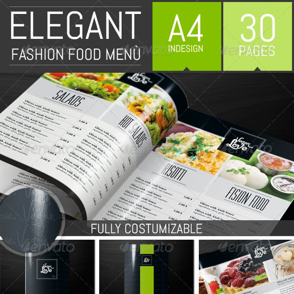 Elegant Food Restaurant Menu Brochure Template