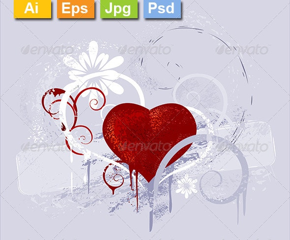 Red Heart on a Gray Background - Valentines Seasons/Holidays