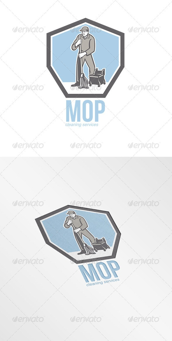 Mop Cleaning Services Logo - Humans Logo Templates