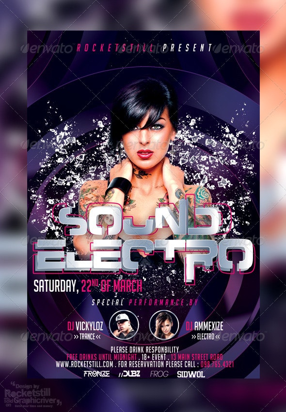 Electro Purple - Fleyer Template - Clubs & Parties Events