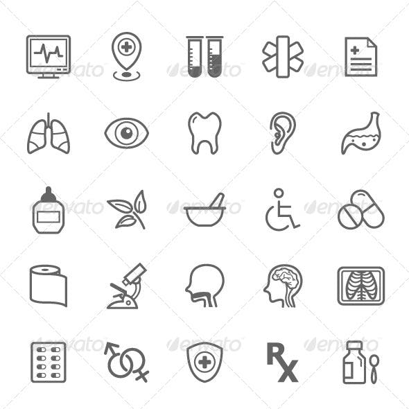 25 Outline Stroke Medical & Health Care Icons