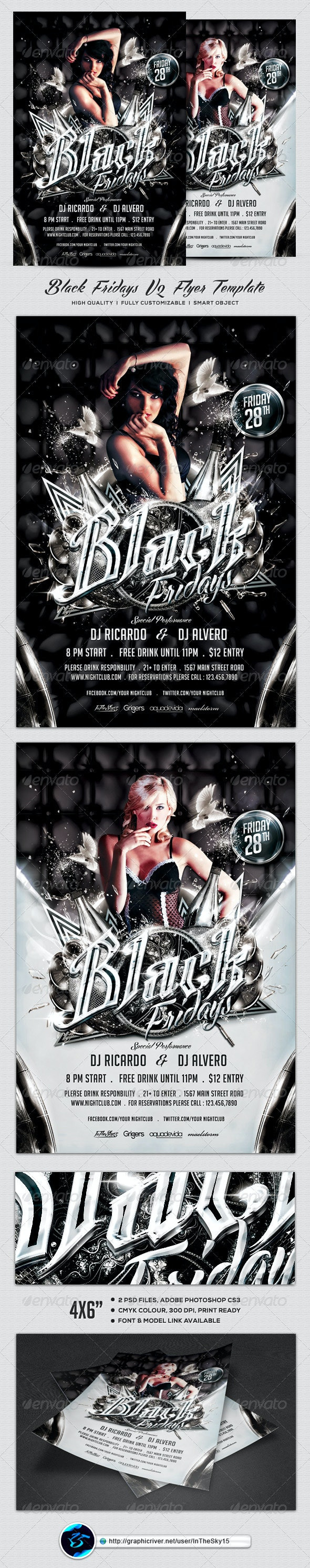 Black Fridays V2 Flyer Template - Clubs & Parties Events