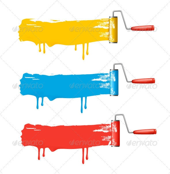 Set of colorful paint roller brushes. - Backgrounds Decorative