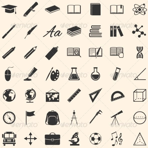 Set of 49 Education Icons School and University