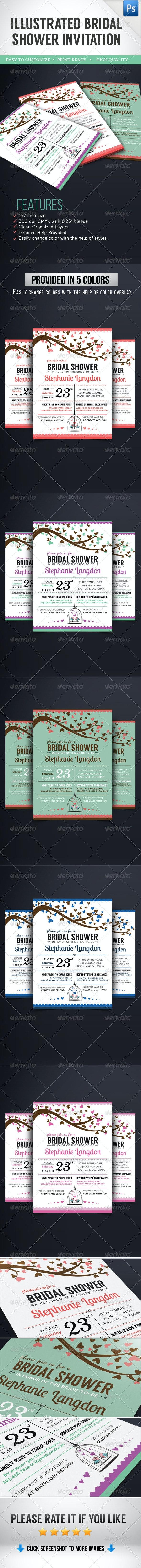 Illustrated Bridal Shower Invitation - Weddings Cards & Invites