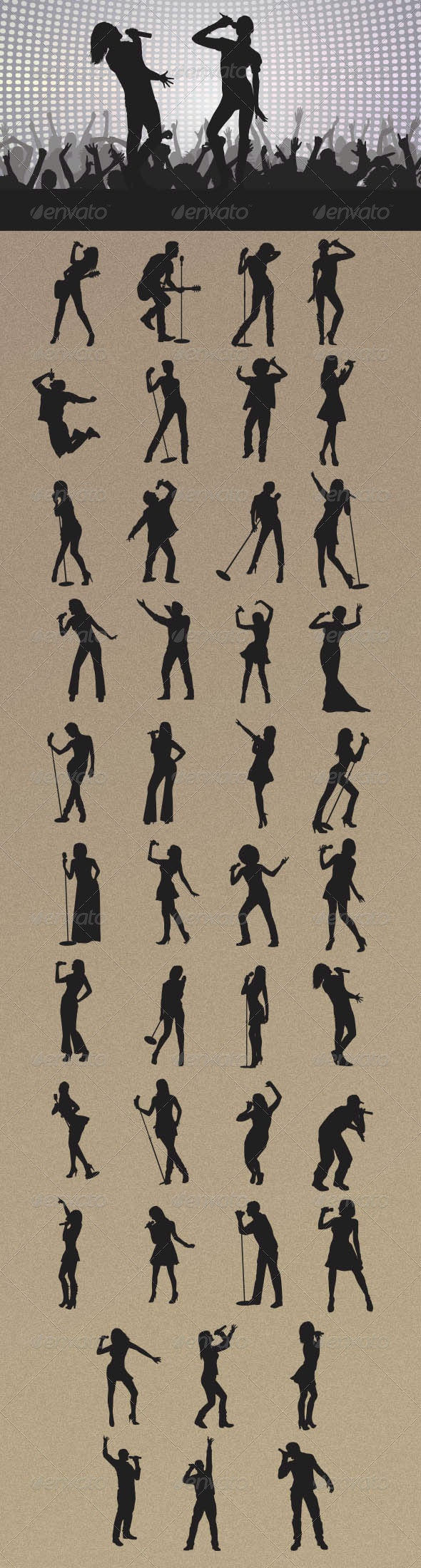 Singer Silhouettes - People Characters