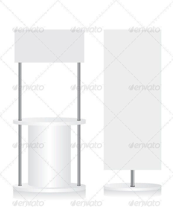 Promotion Counter and Flag Illustration - Concepts Business