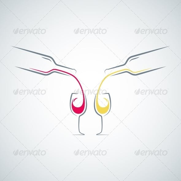 Wine Glass Bottle Concept Background