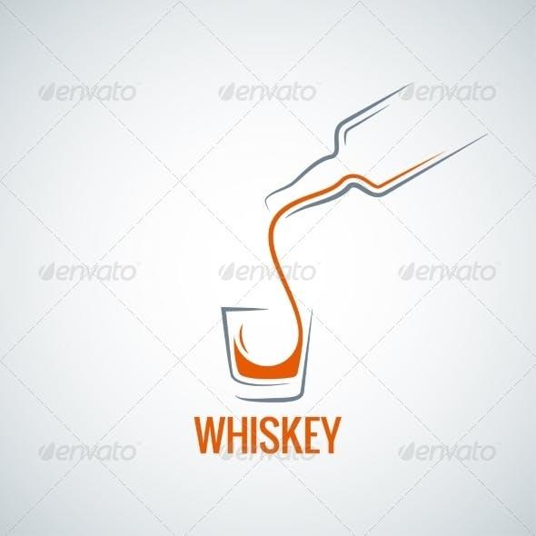 Whiskey Glass Bottle Shot Splash Background