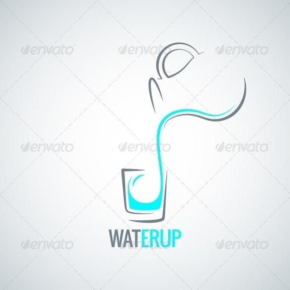 Water Glass Bottle Menu Background - Food Objects