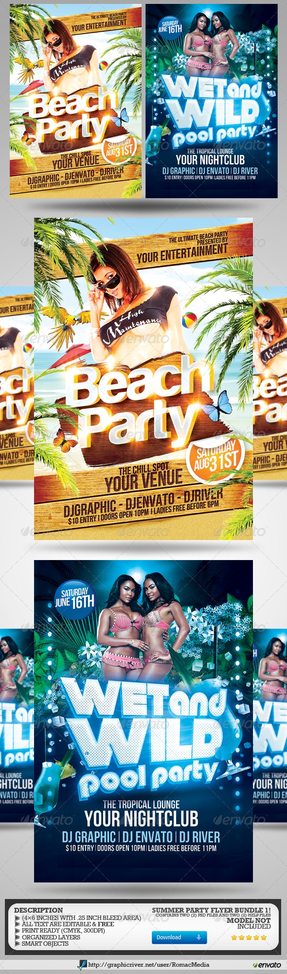 Summer Party Flyers Bundle 1 - Holidays Events