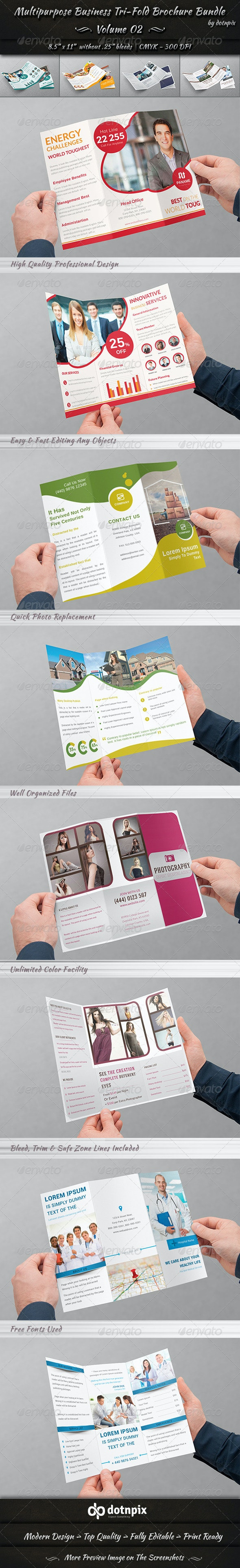 Multipurpose Tri-Fold Brochure Bundle | Volume 2 - Corporate Brochures