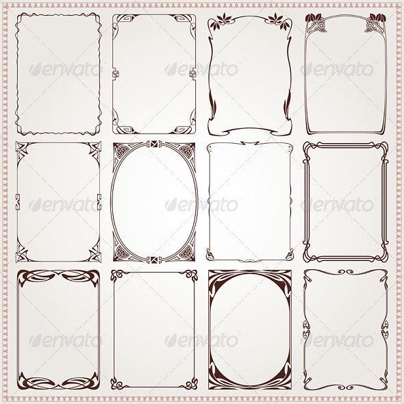 Decorative Frames and Borders Art Nouveau - Borders Decorative
