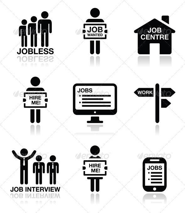 Unemployment Job Searches Icons Set  - Business Conceptual