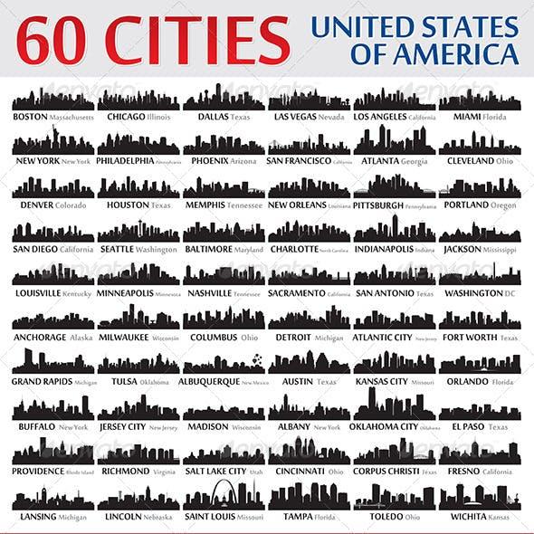 Silhouettes Set o 60 USA Cities