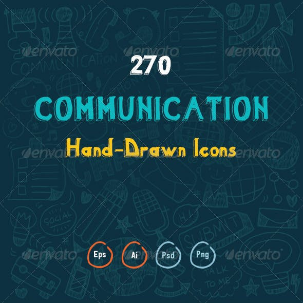 270 Hand Drawn Communication Icons